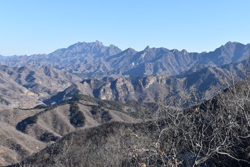 Mountainous landscape at the Great Wall in Jinshanling in winter near Beijing in China