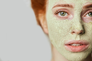 useful mask against wrinkles, the beauty of skin. died mask on face . copy space. cropped photo. half face