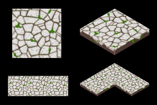 2D and Isometric ground seamless tile texture, color grey. Vector illustration for user interface of the game element.