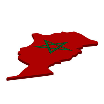 map of Morocco - 3D flag