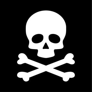 Modern flat skull crossbones icon isolated on black background
