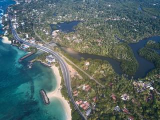 aerial view. Wild Beach in Midigama. Indian ocean. Sri-lanka