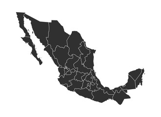 Mexico vector map icon for atlas on white background