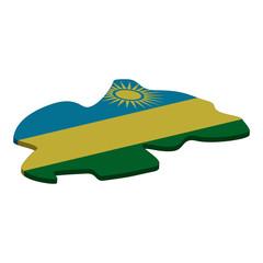 map of Rwanda - 3D flag