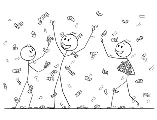 Cartoon stick drawing conceptual illustration of group of men or businessmen celebrating and collecting money or banknotes rain falling from sky. Metaphor of financial success.