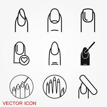 Nail icon logo, illustration, vector sign symbol for design