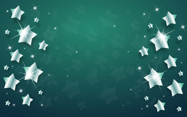 Christmas background with silver stars