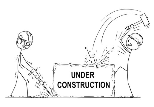 Cartoon stick drawing conceptual illustration of two workers, workmen or labourers working with hammer drill on big pice of rock or stone with under construction text. Usable for website.