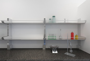 shelves with test tubes in laboratory
