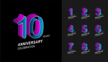 Set of anniversary logotype. Colorful anniversary celebration icons design for company profile, booklet, leaflet, magazine, brochure poster, web, invitation or greeting card.