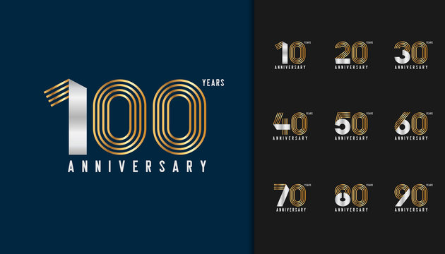 Set of anniversary logotype. Golden and silver anniversary celebration emblem design for company profile, booklet, leaflet, magazine, brochure poster, web, invitation or greeting card.
