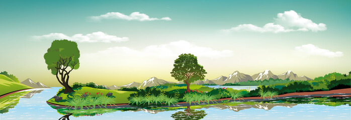 Panoramic landscape - metropolis, lake, river. The town on the island.The island in the lake.