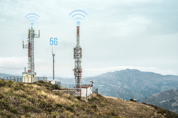 5G antennas and GSM transmitters. Concept for high speed 5G internet