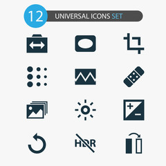 Photo icons set with blur, reload, switch cam and other center focus  elements. Isolated vector illustration photo icons.