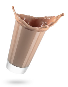 glass of spilling chocolate milk