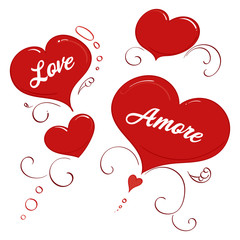 Love and Amore in a burst of hearts and swirls
