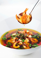 Delicious Chinese Sichuan cuisine, chili boiling shrimp