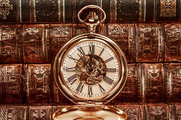 Close up on vintage clock Fotobehang