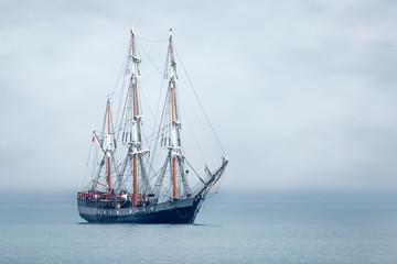 Tall Ship anchored in St Austell Bay, Cornwall