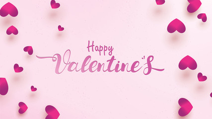 Happy Valentines Day greeting card with pink and purple heart. Love background concept suitable for copy space text Wallpaper, flyers, invitation, posters, brochure, banners