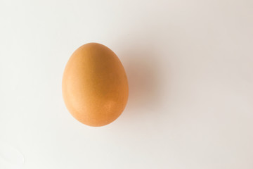 Brown egg lies on a white background close-up