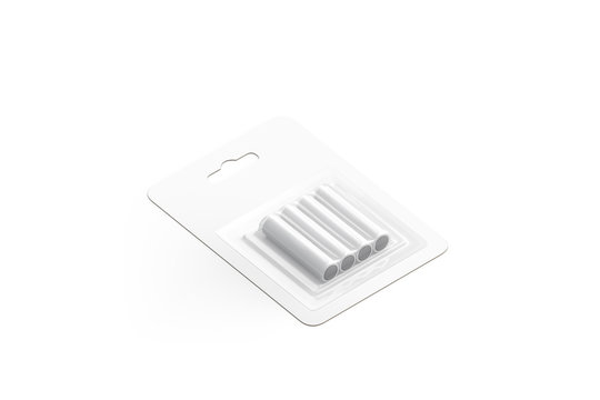 Blank white power battery in pack mockup, isolated, 3d rendering. Empty aa batery kit mock up, side view. Clear cardboard package with electrical batteries template.