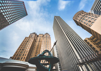 Fototapete - Highrises in San Francisco's Financial District, look up view