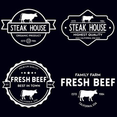 Set of premium beef labels, badges and design elements. Logo for butchery, meat shop, steak house etc.