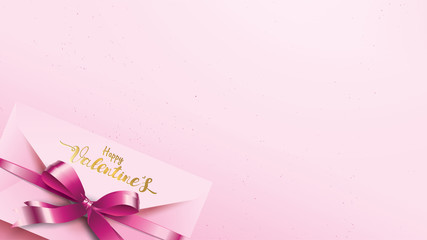 Happy Valentines Day greeting card with pink envelope and purple heart. Gold valentine love concept text suitable for banner, poster, advertising and promotion background