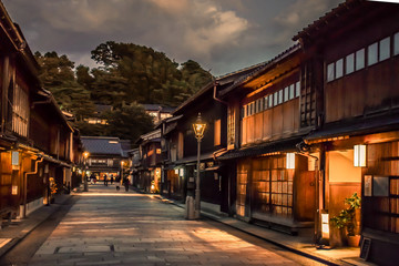 Traditional Japanese street with old wooden houses in Kanazawa Japan Fotomurales