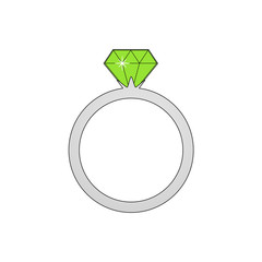 Wonderful design of silver ring with large green brilliant