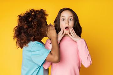 Girl telling secret to her friend, whispering in ear
