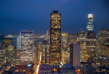 Fototapete - San Francisco Skyline at night, California, USA