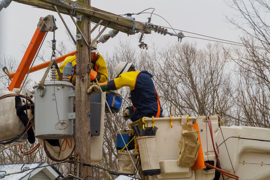 Weeks after Hurricane utility crews are still hard at work restoring power to fixing damaged lines.