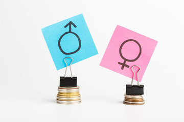 Illustration of gender pay gap with colorful stickers