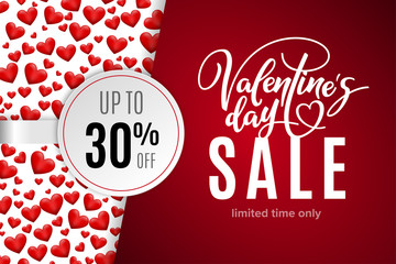Valentine's day holiday sale 30 percent off with red hearts and lettering. Limited time only. Template for a banner, poster, shopping, discount, invitation