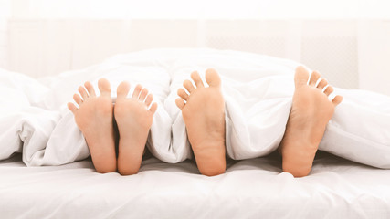 Feet of couple in bed under blanket