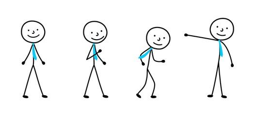 sketch drawing businessman, stick figure man icon, pictogram people set