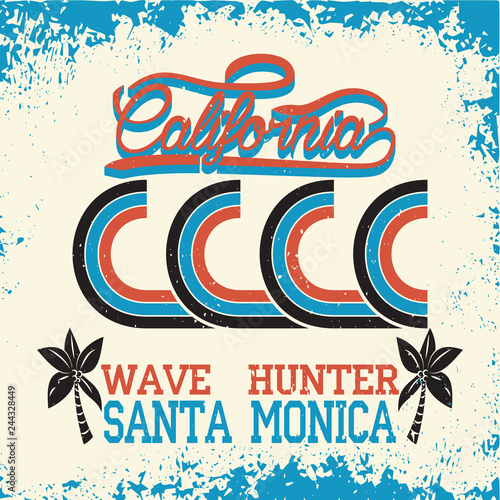 7c02087a7 California surf wear typography emblem. Surfing t-shirt graphic design.  Surfers print stamp. Creative design. Vector.