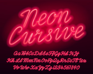 Neon cursive alphabet font. Red color lowercase and uppercase bright letters and numbers. Stock vector typescript for your typography design.