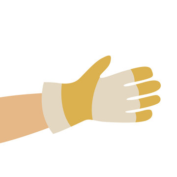 hand in working gloves, vector illustration , flat