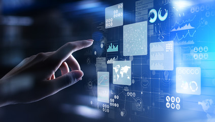 Business intelligence analyst dashboard on virtual screen. Big data Graphs Charts. Papier Peint