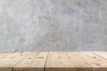Empty wooden table and  concrete  wall texture and background with copy space, display montage for product. Fototapete