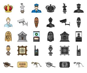 Museum and gallery cartoon,black icons in set collection for design. Storage and exhibition of showpiece vector symbol stock web illustration.