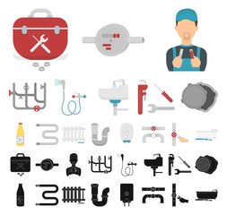 Plumbing, fitting cartoon, black icons in set collection for design. Equipment and tools vector symbol stock web illustration.