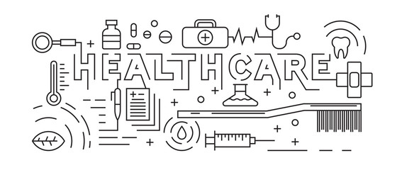 Healthcare, Pharmacy, and Medical Concept. Line Art Design Vector. Black and White Doodle Style. Background and Banner Design