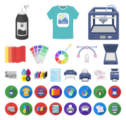 Typographical products cartoon,flat icons in set collection for design. Printing and equipment vector symbol stock web illustration.