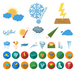 Different weather cartoon,flat icons in set collection for design.Signs and characteristics of the weather vector symbol stock web illustration.