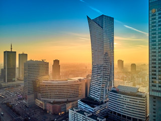 WARSAW, POLAND - DECEMBER 01, 2018: Beautiful panoramic aerial drone view to the center of Warsaw...