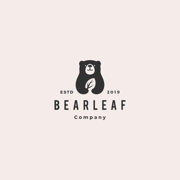 bear leaf leaves natural nature logo hipster vintage retro vector icon illustration